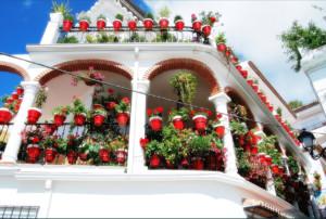balcón con geranios